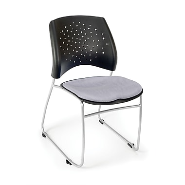 OFM Stars Series Fabric Stack Chair With Triple Curve Seat Design, Putty