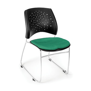 OFM Stars Series Fabric Stack Chair With Triple Curve Seat Design, Forest Green