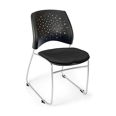 OFM Stars Series Fabric Stack Chair With Triple Curve Seat Design, Black