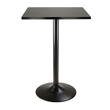 Winsome Pub Table Square MDF Top With Black Legs And Base, Black