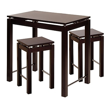 Winsome Linea 3-piece Pub Kitchen Set, Island Table With 2 Stools, Espresso