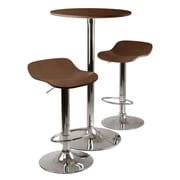 Winsome Kallie 3-piece Round Pub Table With 2 Air Lift Wood Seat Stools, Cappuccino