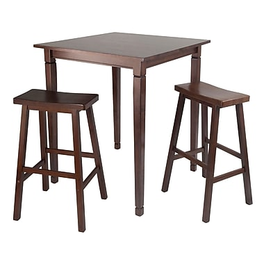 Winsome 3-piece Kingsgate High/Pub Dining Table With Saddle Stools, Antique Walnut