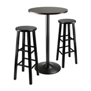 "Winsome 3-piece Round Black Pub Table With Two 29"" Wood Stool Square Legs, Black"