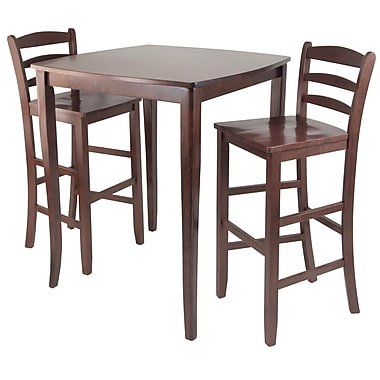 Winsome – Ensemble 3 pièces Inglewood avec table à manger haute de style pub et tabourets à dossier en échelle, noyer antique