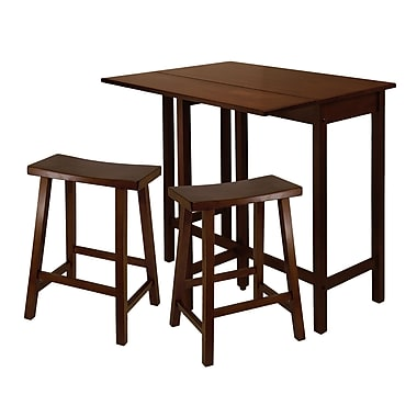 Winsome — Table haute à rallonge repliable avec tabourets 24 po de style selle, ensemble 3 pièces, noyer antique