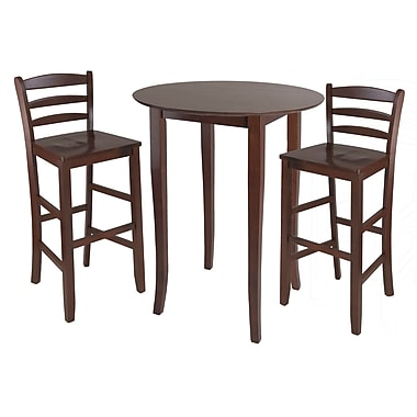 Winsome Fiona 3-piece High Round Pub Table With Ladder Back Stools, Antique Walnut