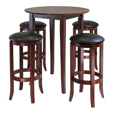 Winsome —Table haute ronde de style pub avec tabourets en PVC de la collection Fiona, ensemble 5 pièces, noyer antique
