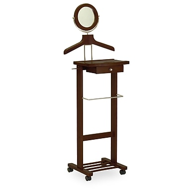 Winsome Rolling Valet Stand, Antique Walnut