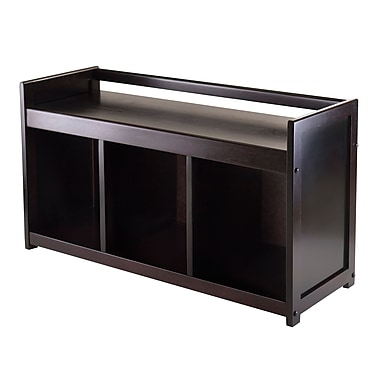 Winsome Addison Storage Bench with 3-Sections, Espresso