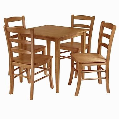 Winsome – Table à manger de la collection Groveland et 4 chaises, fini chêne clair