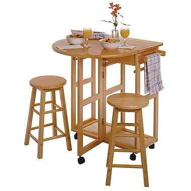 Winsome Space Saver Drop Leaf Dining Table with 2 Round Stools, Natural