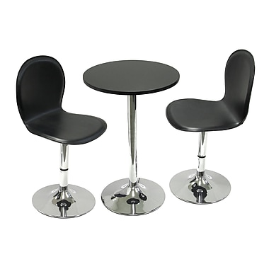 Winsome – Table à manger ronde de 20 po de la collection Spectrum et 2 chaises pivotantes en similicuir, fini noir