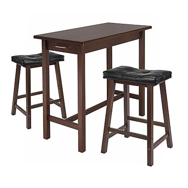 Winsome Kitchen Island 3-Piece Dining Table Set with Cushion Saddle Seat Stools, Antique Walnut