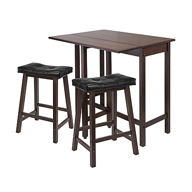 Winsome Lynnwood Drop Leaf 3-Piece Dining Table with Cushion Saddle Seat Stools, Antique Walnut