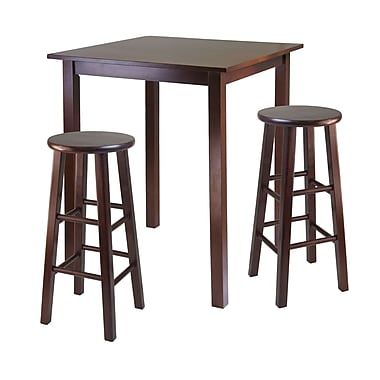 Winsome – Table à manger haute de style pub de la collection Parkland et 2 tabourets à pattes carrées, fini noyer antique