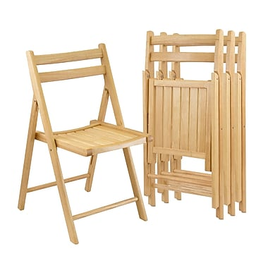 Winsome - Ensemble de 4 chaises pliantes, fini naturel