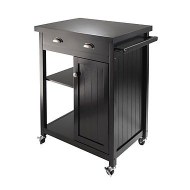 Winsome Timber Kitchen Cart with Wainscot panel, Black