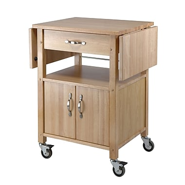 Winsome Kitchen Cart Double Drop Leaf Cabinet With Shelf Natural