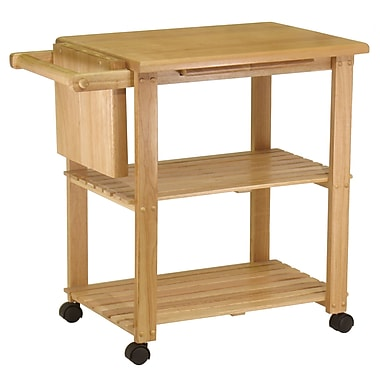 Winsome Kitchen Cart with Cutting Board, Knife Block and Shelves, Natural