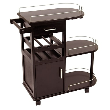 Winsome Entertainment Cart, Glass Rack, Cabinet, Drawer, Espresso