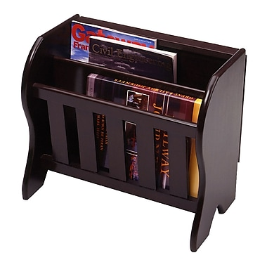 Winsome Magazine Rack with side Flip Top, Espresso