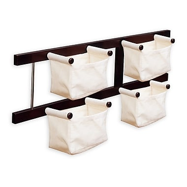 Winsome Storage/Magazine Rack with 4 Canvas Baskets, Espresso