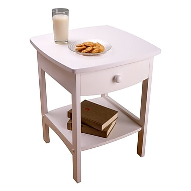 Winsome Curved End Table/Night Stand With One Drawer, White