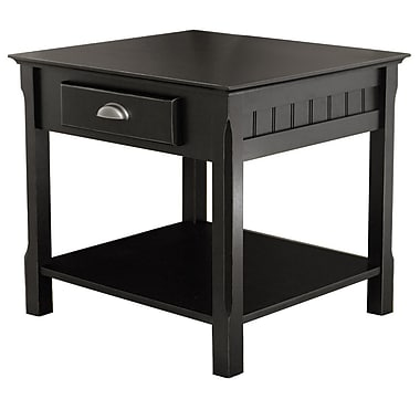 Winsome – Table de bout Timber avec tiroir/tablette, noir