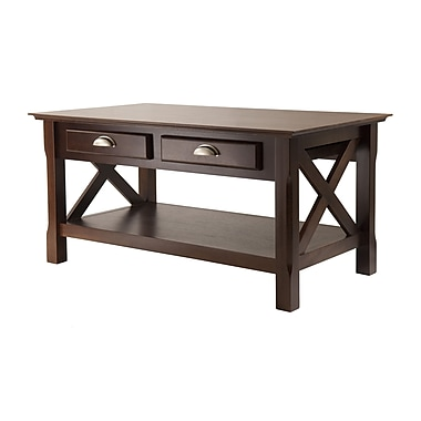 Winsome Xola Coffee Table With 2 Drawers, Cappuccino