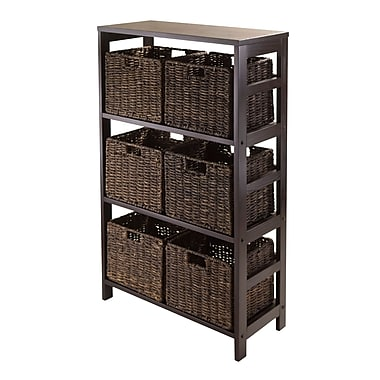 Winsome Granville 7pc Storage Shelf With 6 Foldable Baskets, Espresso