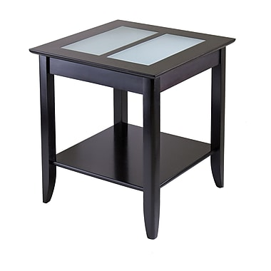 Winsome Syrah End Table With Frosted Glass, Espresso