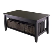 Winsome Morris Table, 3 Foldable Baskets, Espresso