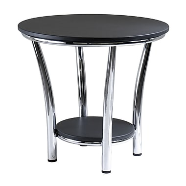 Winsome Maya Round End Table, Metal Legs, Black