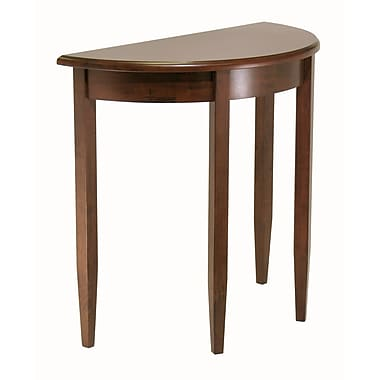 Winsome – Table d'appoint en demi-lune Concord, fini antique en noyer