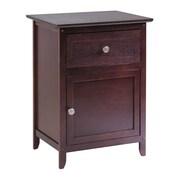 Winsome – Table de chevet/d'appoint avec tiroir et caisson de rangement, fini antique noyer
