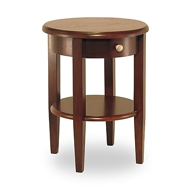 Winsome Concord Round End Table With Drawer/Shelf, Antique Walnut