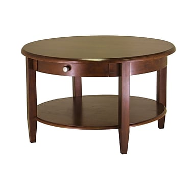Winsome Concord Round Coffee Table With Drawer/Shelf, Antique Walnut