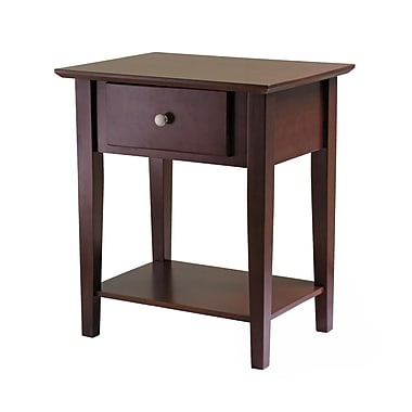 Winsome Shaker Night Stand With Drawer, Antique Walnut