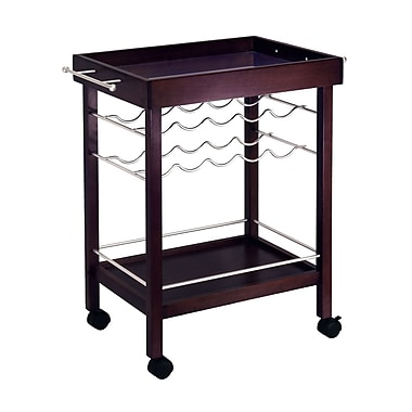 Winsome Bar Cart, Mirror Top, wine rack, Espresso
