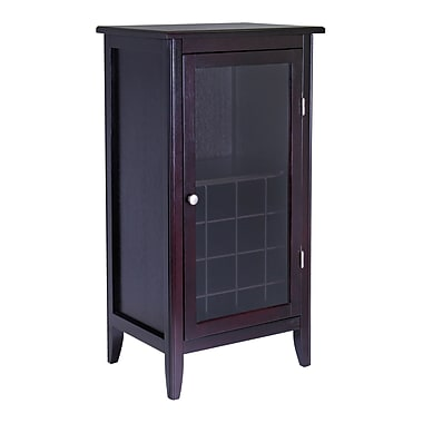 Winsome Ryan Wine Cabinet 16-Bottle, Glass Rack, One Door, Espresso
