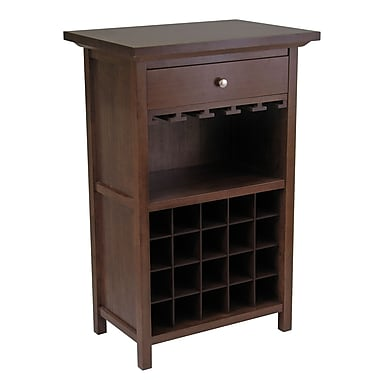 Winsome Wine Cabinet with Drawer and Glass Rack, Antique Walnut