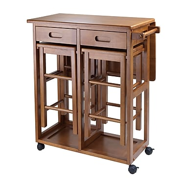 Winsome Space Saver with 2 Stools, Square, Teak