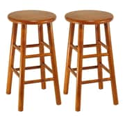 """Winsome 24"""" Beveled Seat Stools, Cherry, 2/Pack"""