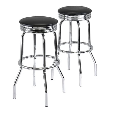 Winsome Summit Faux Leather Swivel Bar Stools, Black, 2/Pack