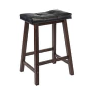 "Winsome Mona 24"" Leather Cushion Saddle Seat Stool, Antique Walnut"