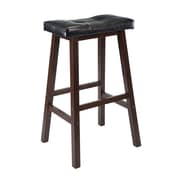 "Winsome Mona 29"" Leather Cushion Saddle Seat Stool, Antique Walnut"