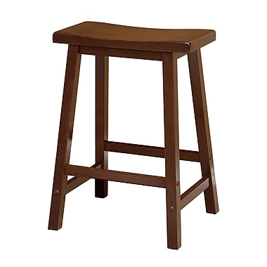 Winsome – Tabouret de style selle, 24 po, bois de noyer antique