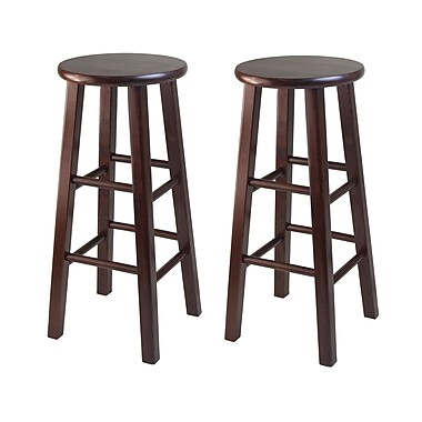 Winsome – Tabourets de bar à pattes carrées, 29 po, bois de noyer antique, 2/carton