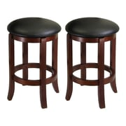 "Winsome 24"" Swivel Stools with Faux leather Seats, Antique Walnut, 2/Pack"